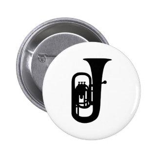 Black Tuba instrument 6 Cm Round Badge