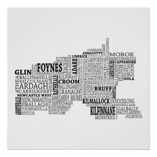 Black Typographical Map of Co. Limerick, Ireland Poster