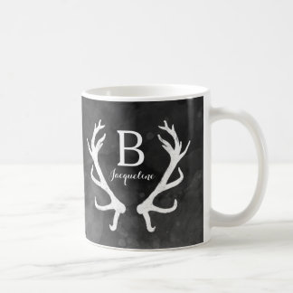 Black Watercolor and Rustic Deer Antlers Monogram Basic White Mug