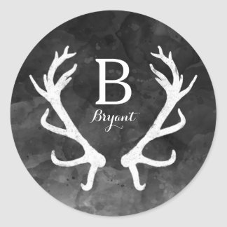Black Watercolor and Rustic Deer Antlers Monogram Round Sticker