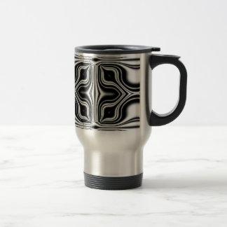 black white abstract stainless steel travel mug