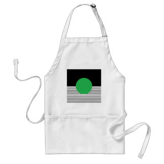 Black White Colorblock & Green Circle Standard Apron