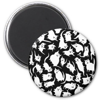 Black & White Crazy Cats Magnet
