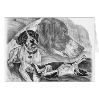 Black & White English Pointer Dogs Greeting Card