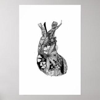 Black & White Floral Heart Poster