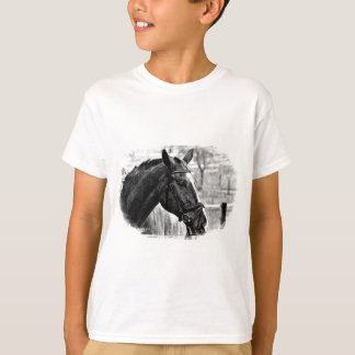 Black White Horse Sketch Tee Shirt