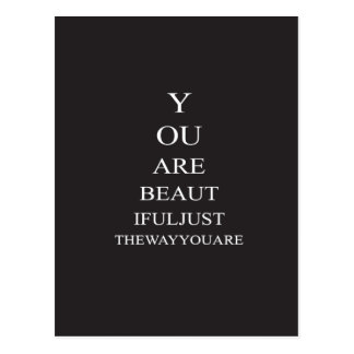 Black White Love Inspirational Quote Postcard