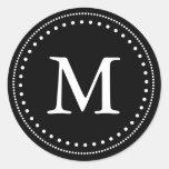Black & White Monogram Envelope Seal Round Sticker
