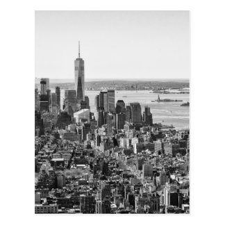 Black White New York City Skyline Postcard