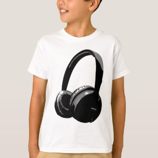 Black & White Pop Art Headphone Shirt