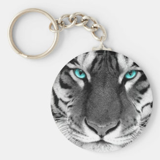Black White Tiger Basic Round Button Key Ring