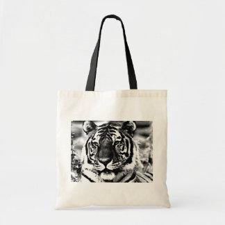 Black & White Tiger Budget Tote Bag