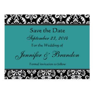Black White Turquoise Damask Save Date Postcard