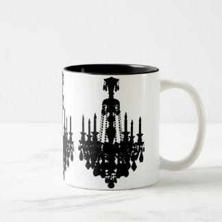Black & White Vintage Chandelier Graphic Two-Tone Mug