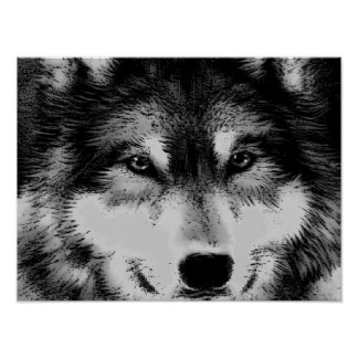 Black & White Wolf Eyes Poster
