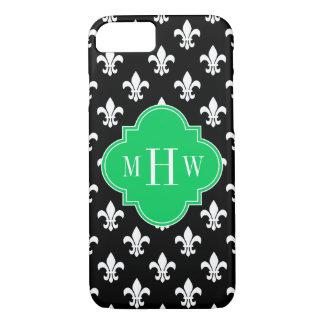 Black Wht Fleur de Lis Emerald 3 Initial Monogram iPhone 7 Case