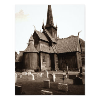 Blank Invitations Sepia Gothic Church Graveyard