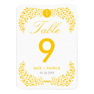 Blissful Laurel Double Sided Table Number Card 13 Cm X 18 Cm Invitation Card