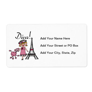 Blond Hair Diva Shipping Label