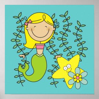 Blond Mermaid Poster