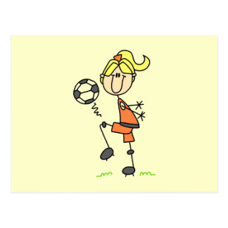 Blond Stick Figure Soccer Player Girl Gifts Postcard