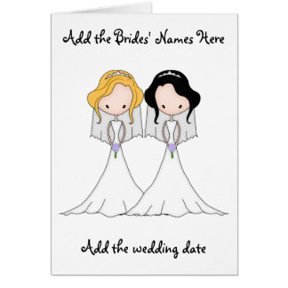 Blonde and Black Haired Brides Lesbian Wedding Greeting Card