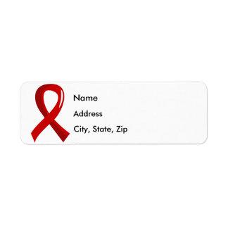 Blood Cancer Red Ribbon 3 Return Address Label