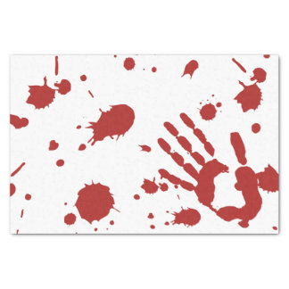 """Blood Soaked Bloody Hand Print Halloween 10"""" X 15"""" Tissue Paper"""
