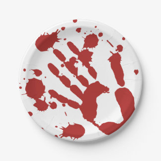 Blood Splattered Bloody Hand Print 7 Inch Paper Plate