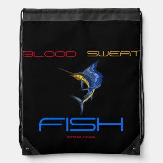 BLOOD SWEAT FISH DRAWSTRING BAGS