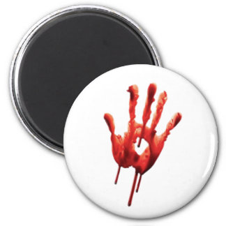 Bloody Hand Print 6 Cm Round Magnet