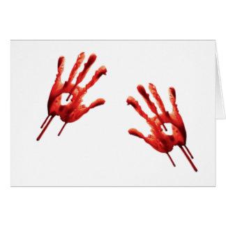 Bloody Hand Print Greeting Card