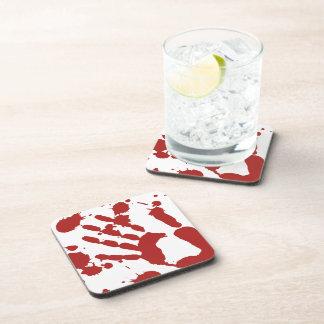 Bloody Hand Print Halloween Props Beverage Coasters