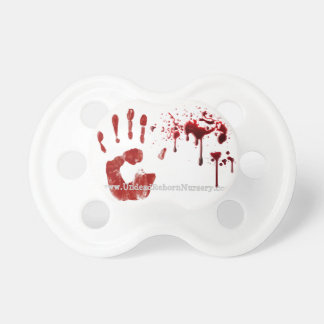 BLOODY HAND PRINT SPLATS BABY PACIFIER