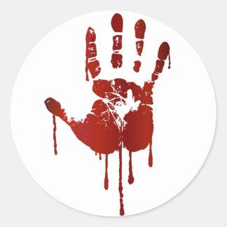 Bloody hand round sticker