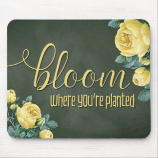 """Bloom"" Floral Chalkboard Calligraphy Mouse Pad"