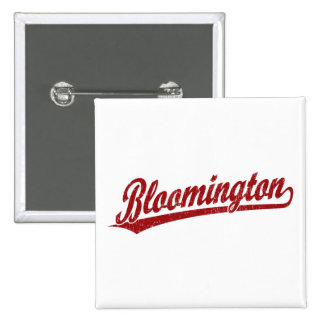 Bloomington script logo in red 15 cm square badge