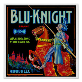 Blu Knight Fruit Label Poster