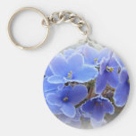 Blue African Violets Basic Round Button Key Ring