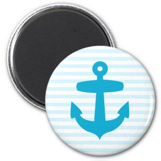 Blue Anchor with Light Blue Breton Stripes 6 Cm Round Magnet