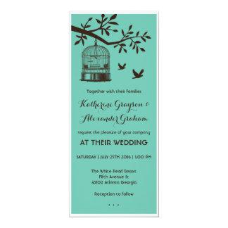Blue and Brown Bird Cage Wedding Invitation