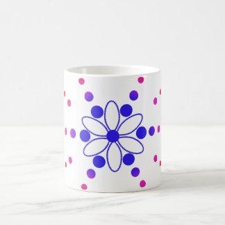 Blue and pink flowery beads basic white mug