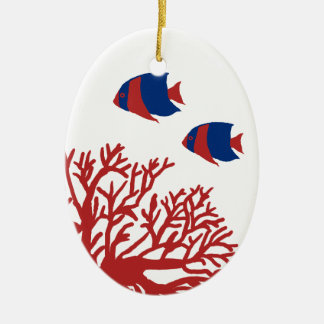 Blue and Red Tropical Coral and Angelfish Ceramic Oval Decoration