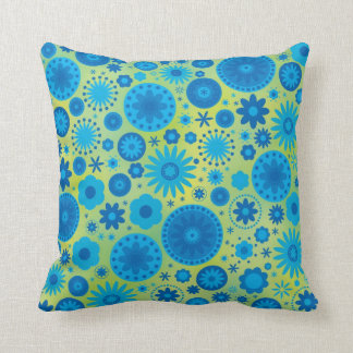 Blue and Turquoise Hippy Flower Pattern Cushions
