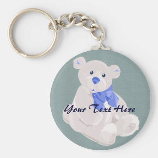 Blue and White Bear Keychain