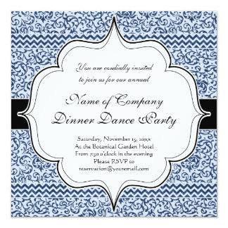 Blue and White Floral Tudor Damask Vintage Style 13 Cm X 13 Cm Square Invitation Card