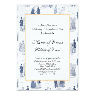 Blue and White Vintage Fashion French Toile 13 Cm X 18 Cm Invitation Card