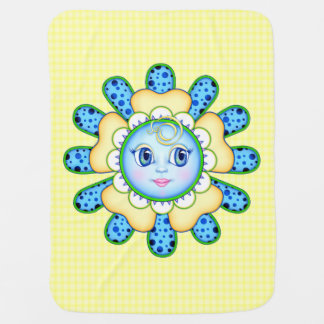 Blue and Yellow Flower Face Baby Blanket