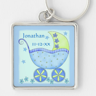 Blue Baby Buggy Boy Name Birth Date Commemorative Silver-Colored Square Key Ring
