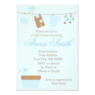 Blue Baby Clothesline Baby Shower 13 Cm X 18 Cm Invitation Card